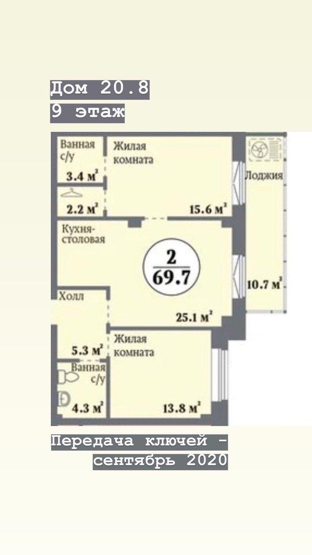 В продаже квартира в жилой комплексе «НЬЮТОН» S= 69,7 м кв Этаж 9 Цена…