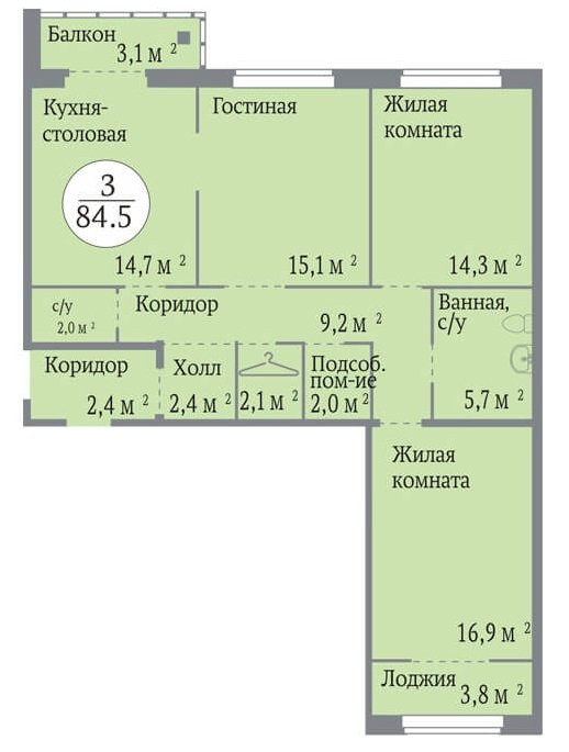 Трехкомнатная квартира 84,5квм в индустриальном доме − одна из самых популярных среди трешек. Почти…