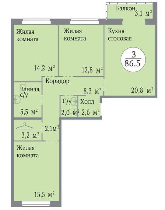 Продается последняя 3-комнатная квартира от застройщика СК Легион в финском доме Сдача уже в…